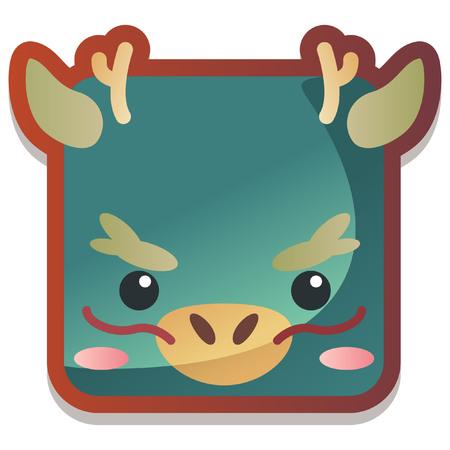 chinese astrology: Cute  Animal Zodiac Dragon Icon Illustration