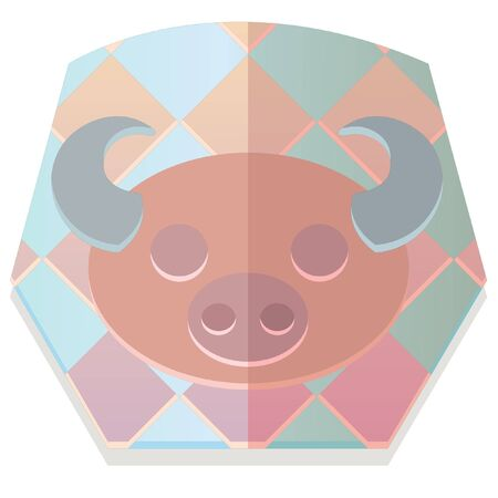 year of the ox: Japanese Zodiac Checkered  Style Ox icon Illustration