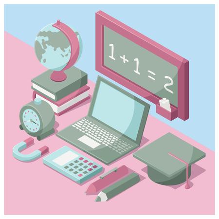 middle school: isometric school icon set