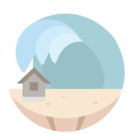 calamity: disastrous calamity circular icon Illustration