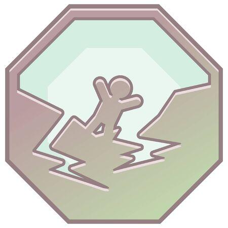 disaster prevention sign icon Illustration