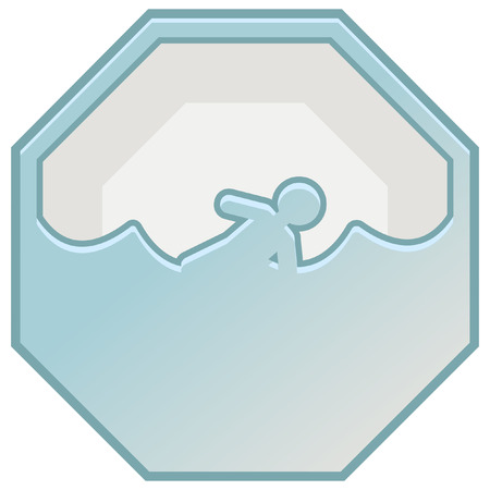 drowning: disaster prevention sign icon Illustration