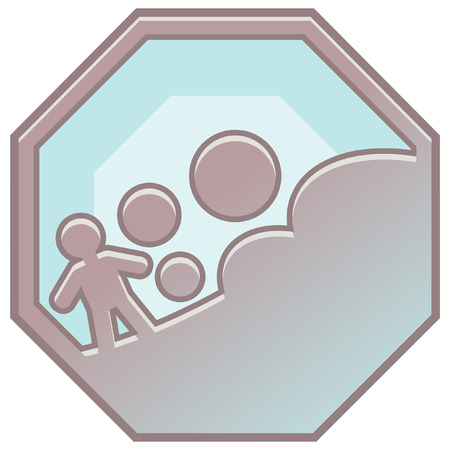 erosion: disaster prevention sign icon Illustration