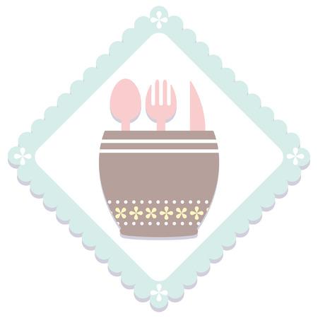 シンプルなパステル キッチン アイテム アイコン  イラスト・ベクター素材