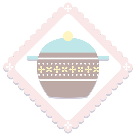casserole: simple pastel kitchen item  icon