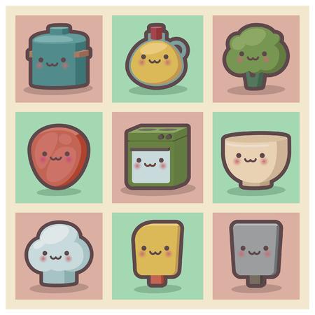 chibi: cute chibi kitchen item set