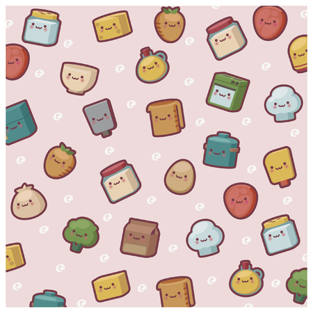 wall paper: cute chibi kitchen item wall paper