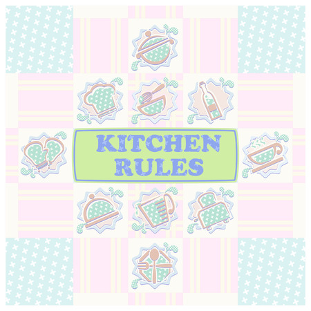 wall paper: pastel kitchen wall paper Illustration