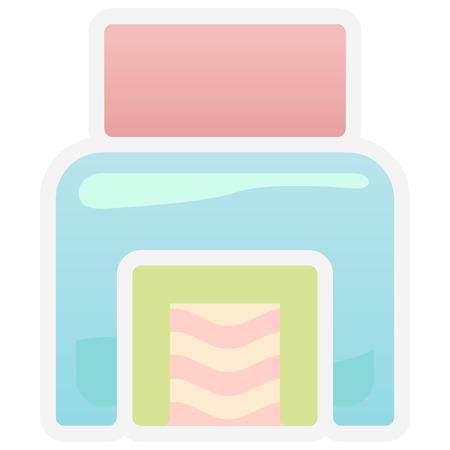 パステル調のキッチンのアイコン  イラスト・ベクター素材