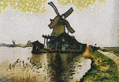Holland / Dutch windmilll painting. Can be canvas or paper printed. Can be requested with or without artist's signature. Stock Photo - 8232921
