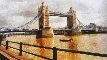London Bridge Painting Can be canvas or paper printed. Can be requested with or without artist's signature. Stock Photo - 8232919