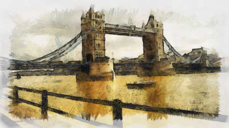 London Bridge Painting Can be canvas or paper printed. Can be requested with or without artists signature.