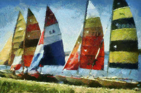 Catamarans on river bank. Type: Pic-Paint Art (combination of picture and drawing or painting).  Can be canvas or paper printed. Can be requested with or without artist's signature. Stock Photo - 8232916