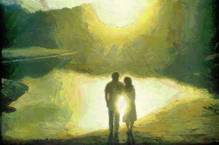 Couple standing with sun reflecting from water between them. Can be canvas or paper printed. Can be requested with or without artist's signature. Stock Photo - 8232912