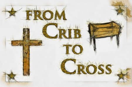 Crib to Cross Christian Art (line Drawing/Gold Text). Can be canvas or paper printed. Stock Photo - 8309034