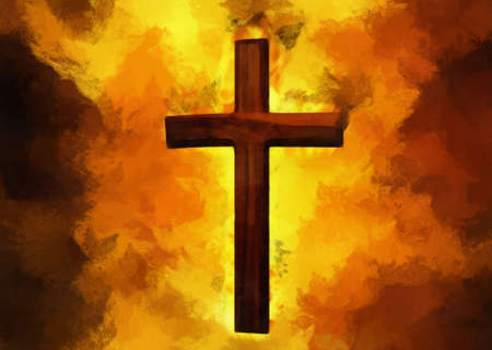 Flaming Cross Christian Art Can be canvas or paper printed. photo