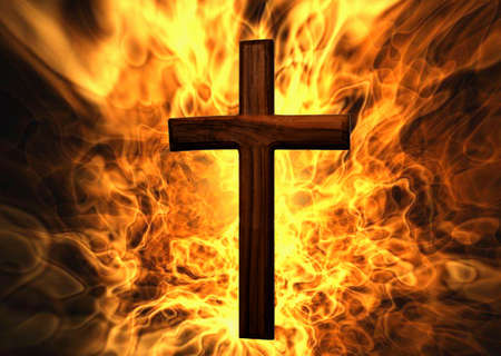 Flaming Cross Christian Art Can be canvas or paper printed.