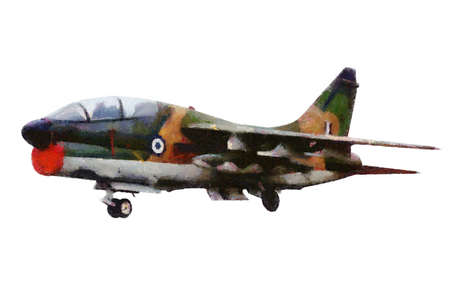 undercarriage: Fighter airoplane illustration painted in oil with white background. A-7E Corsair navy jet fighter plane.