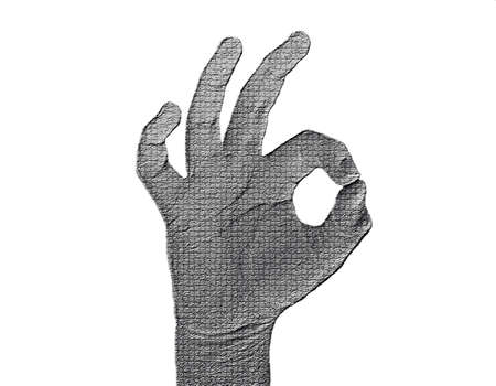 All-Fine Hand on White - Silver / Metalic hand gesture artwork. Stock Photo - 8309091