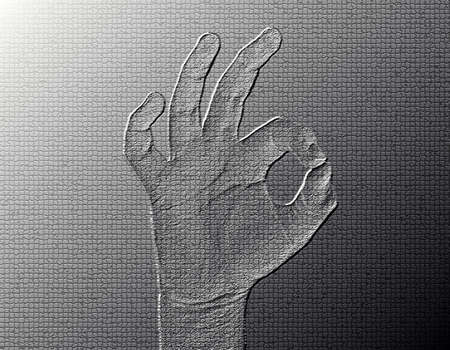 All-Fine Hand - Silver / Metalic hand gesture artwork. Stock Photo - 8309112