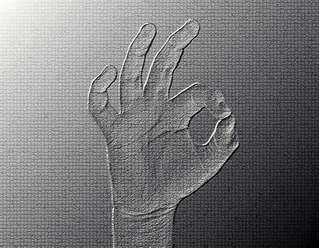 All-Fine Hand - Silver / Metalic hand gesture artwork. Stock Photo - 8309112