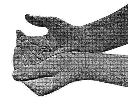 Begging Hands on White - Silver / Metalic hand gesture artwork. Stock Photo - 8309102