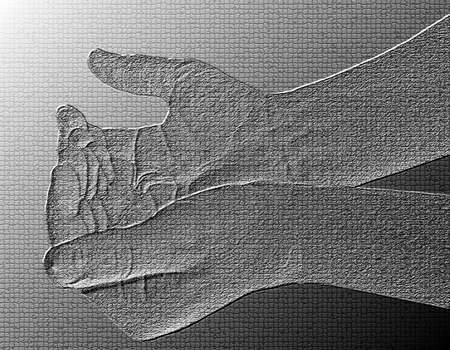 Begging Hands - Silver / Metalic hand gesture artwork. Stock Photo - 8309116