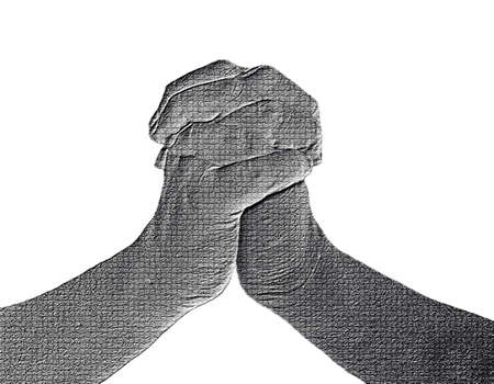 nervousness: Clinched Hands (Front View) on White - Silver  Metalic hand gesture artwork. Stock Photo
