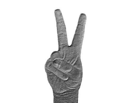 Piece Hand on White - Silver / Metalic hand gesture artwork. Stock Photo - 8309084