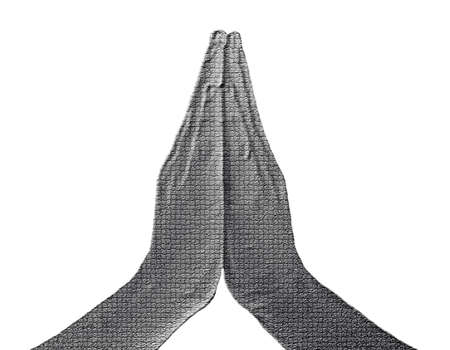 Praying Hands (Front View) on White - Silver / Metalic hand gesture artwork. Stock Photo - 8309092