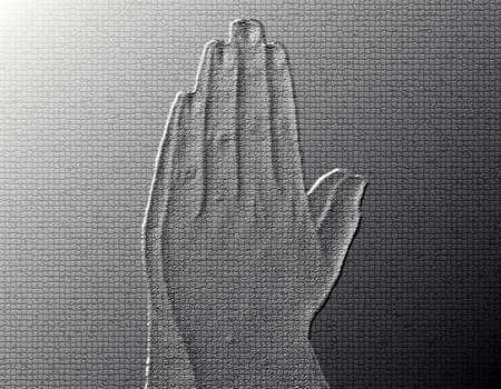 Praying Hands (Side View) - Silver / Metalic hand gesture artwork. Stock Photo - 8309114