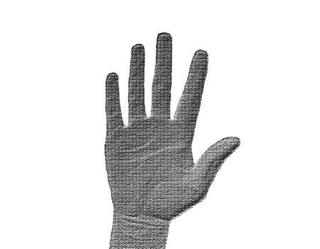 halted: Raised Hand on White - Silver  Metalic hand gesture artwork.