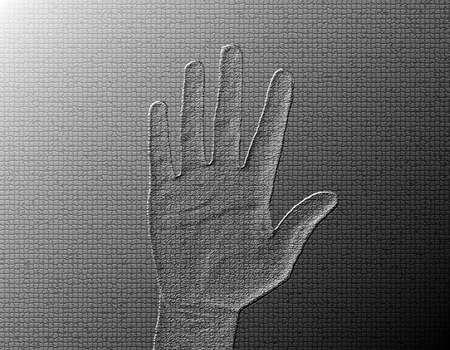 halted: Raised Hand - Silver  Metalic hand gesture artwork.