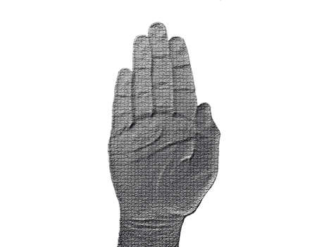 Stop Hand on White - Silver / Metalic hand gesture artwork. Stock Photo - 8309090
