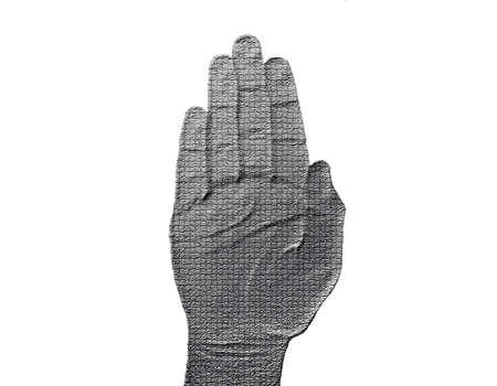 halted: Stop Hand on White - Silver  Metalic hand gesture artwork.