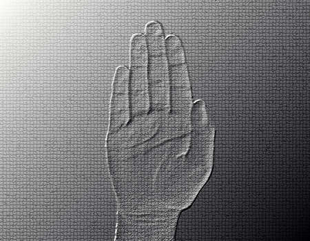 halted: Stop Hand - Silver  Metalic hand gesture artwork. Stock Photo