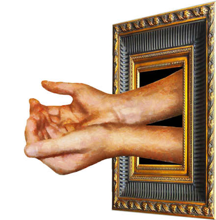 Artwork begging for funding (symbolic artist's / art's requesting financial assistance). Stock Photo - 8405856