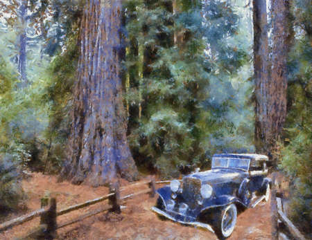 brougham: Auburn Salon Brougham 1933 in the forest. Oil Painting (Benson Style).