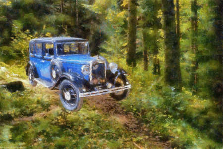 bonnet illustration: Austin Berkeley 1932 in the forest. Oil Painting (Benson Style).