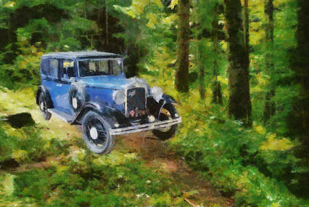bonnet illustration: Austin Berkeley 1932 in the forest. Oil Painting (Camille Style).