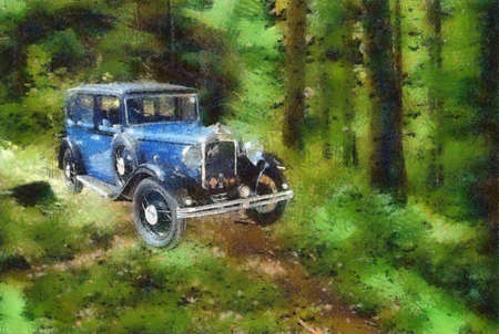 bonnet illustration: Austin Berkeley 1932 in the forest. Pastel drawing.
