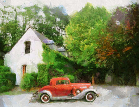 bonnet illustration: Buick 1934 Sports Coupe parked in front of farm house. Oil painted. Stock Photo