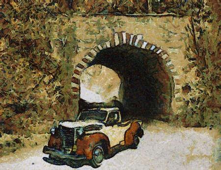 bonnet illustration: Diamond-T Model 210 1948. Oil Painting (Abstract Style).