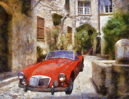 bonnet illustration: Sports 1975 in narrow stone passage. Oil Painting (Benson Style).
