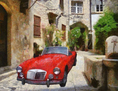 bonnet illustration: Sports 1975 in narrow stone passage. Oil Painting (Camille Style). Stock Photo