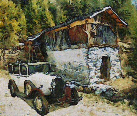 bonnet illustration: Vauxhall Cadette 1931 at old watermill. Oil Painting (Abstract Style). Stock Photo