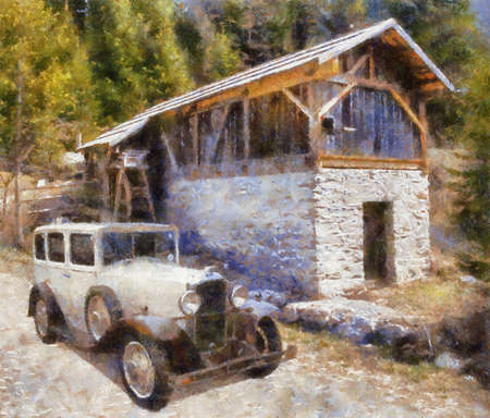 bonnet illustration: Vauxhall Cadette 1931 at old watermill. Oil Painting (Benson Style).