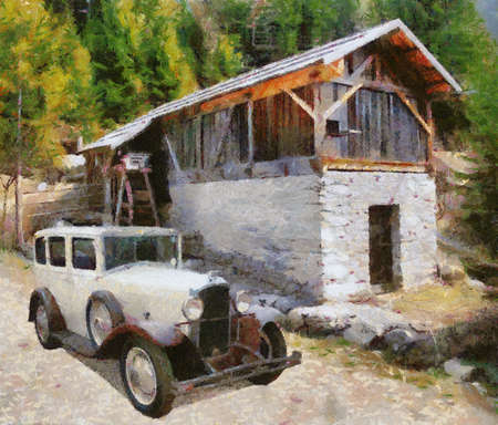 watermill: Vauxhall Cadette 1931 at old watermill. Oil Painting (Camille Style).