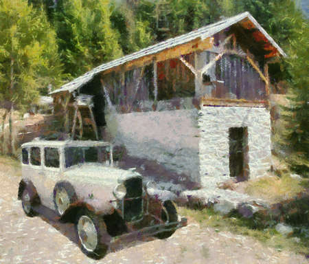 watermill: Vauxhall Cadette 1931 at old watermill. Oil Painting (Monet Style).
