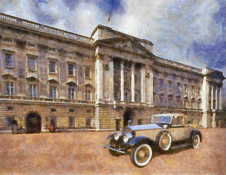 roadster: Phantom II Henley Roadster in front of Palace. Oil Painting (Benson Style).